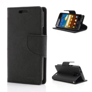 Mercury GOOSPERY Fancy Diary Credit Card Wallet Leather Case w/ Stand for Samsung I9100 Galaxy S 2 / II - Black