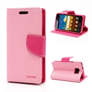 Mercury GOOSPERY Fancy Diary Credit Card Wallet Leather Case w/ Stand for Samsung I9100 Galaxy S 2 / II - Rose / Pink