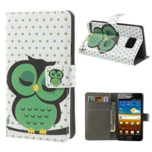 Cute Green Sleeping Owl Wallet Leather Cover Stand for Samsung I9100 Galaxy S II