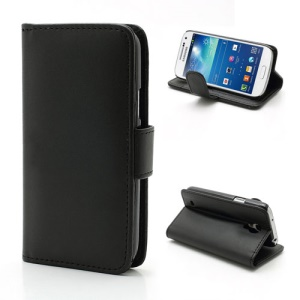 Leather Wallet Case Cover w/ Holder for Samsung Galaxy S IV S4 mini I9190 I9192 I9195 - Black