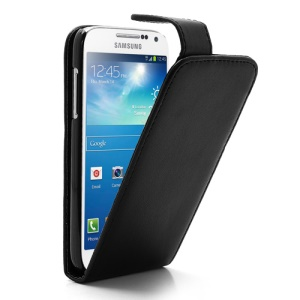 Classic Vertical Magnetic Flip Leather Case for Samsung Galaxy S IV S4 mini I9190 I9192 I9195 - Black