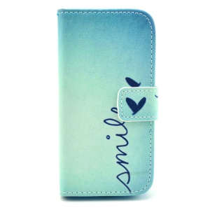 Smile Love Heart Stand Leather Cover w/ Card Slots for Samsung Galaxy S4 mini i9190
