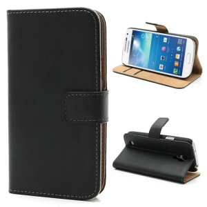 Folio Genuine Split Leather Wallet Case for Samsung Galaxy S4 mini i9190 - Black