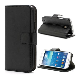Black Crazy Horse Leather Wallet Stand Case for Samsung Galaxy S4 mini i9190 i9195