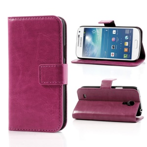 Rose Crazy Horse Stand Leather Cover for Samsung Galaxy S4 mini i9190 i9192