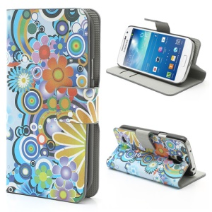 Colorful Flowers For Samsung Galaxy S4 mini i9195 i9190 Wallet Leather Phone Case Stand
