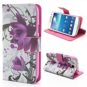 Lotus Flower Folio Stand Leather Wallet Case for Samsung Galaxy S4 mini i9195 i9190