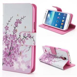 Pink Plum Card Slots Leather Case Stand for Samsung Galaxy S4 mini i9195 i9190