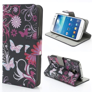 Butterfly & Flower Wallet Leather Stand Case Shell for Samsung Galaxy S4 mini i9190 i9192