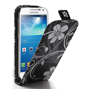 White Flower Black Background Magnetic Leather Vertical Case for Samsung Galaxy S4 mini i9195 i9190