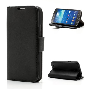 Black Litchi Grain Leather Wallet Stand Case for Samsung Galaxy S4 Active I9295 I537