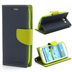 Mercury GOOSPERY Fancy Diary Wallet Style Leather Stand Case for Samsung Galaxy S3 / III I9300 - Green / Dark Blue