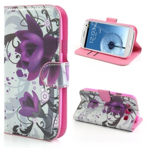 Beautiful Lotus Flower Credit Card Wallet Stand Leather Case for Samsung Galaxy S3 / III I9300