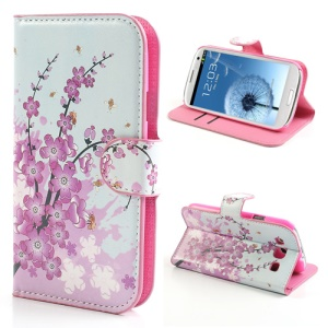 Pink Plum Magnetic Leather Case Cover with Card Slots & Stand for Samsung Galaxy S3 / III I9300