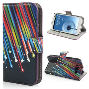 Meteor Shower Wallet Leather Case Cover with Stand for Samsung Galaxy S3 / III I9300