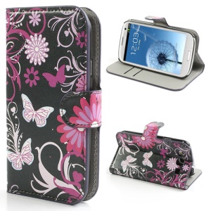 Butterfly & Flower Card Slot Leather Stand Case Shell for Samsung Galaxy S3 / III I9300
