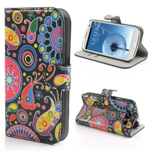 Colorful Flower Ribbon Wallet Leather Stand Case Cover for Samsung Galaxy S3 / III I9300
