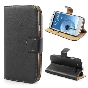 Black Genuine Split Wallet Leather Case for Samsung Galaxy S3 I9300 I747 L710 T999 I535 R530