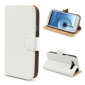 White Genuine Split Leather Wallet Case for Samsung Galaxy S3 I9300