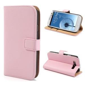 Pink Genuine Split Leather Wallet Cover for Samsung Galaxy S 3 I9300