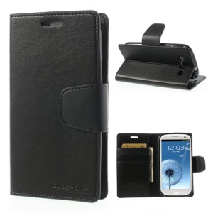 Black Mercury Goospery Sonata Diary Wallet Leather Case Stand for Samsung Galaxy S3 I9300