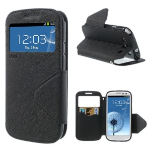 Roar Korea Fancy Diary for Samsung Galaxy S III I9300 Window View Leather Cover Stand w/ Card Slot - Black
