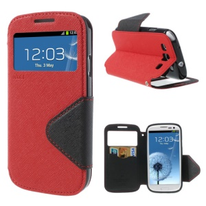 Roar Korea Fancy Diary for Samsung Galaxy S III I9300 Window View Leather Wallet Cover Stand - Black / Red