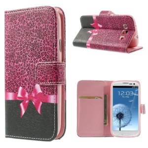 Leopard & Bowknot Leather & TPU Card Holder Case for Samsung Galaxy S3 I9300