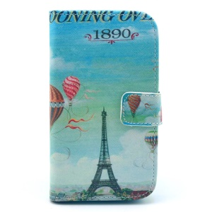 Eiffel Tower & Fire Balloon Leather Shell w/ Wallet & Stand for Samsung Galaxy S3 I9300