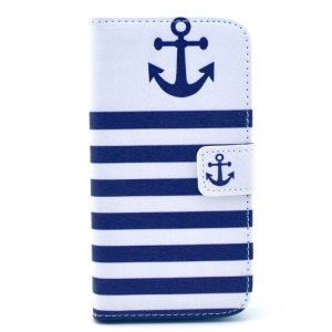 Stripes Anchor Leather Wallet Cover w/ Stand for Samsung Galaxy S3 I9300