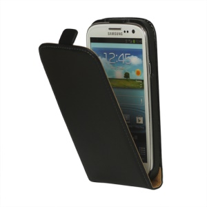 Genuine Split Leather Flip Case for Samsung Galaxy S 3 / III I9300 I747 L710 T999 I535 R530;Black