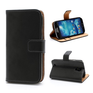 Genuine Split Leather Diary Case w/ Stand for Samsung Galaxy S IV S4 i9500 i9505 - Black