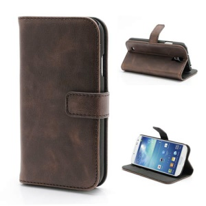 Premium Crazy Horse Leather Folio Wallet Case Stand for Samsung Galaxy S 4 IV i9500 i9502 i9505 - Coffee