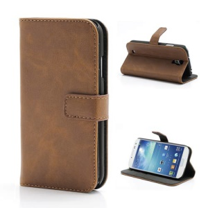 Premium Crazy Horse Leather Folio Wallet Case Stand for Samsung Galaxy S 4 IV i9500 i9502 i9505 - Brown