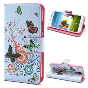 Vivid Butterfly Circle Leather Case with Stand & Wallet for Samsung Galaxy S4 i9500 I545