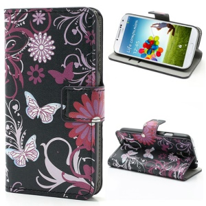 Butterfly & Flower Card Slot Leather Stand Case Shell for Samsung Galaxy S4 i9500 i9502