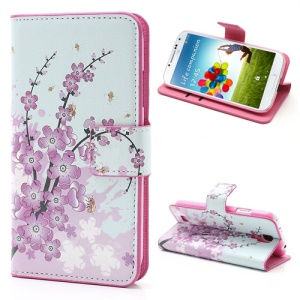 Pink Plum Magnetic Leather Case Cover with Card Slots & Stand for Samsung Galaxy S4 i9500 i9505