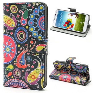 For Samsung Galaxy S4 SIV i9500 Colorful Flower Ribbon Wallet Leather Stand Case Cover