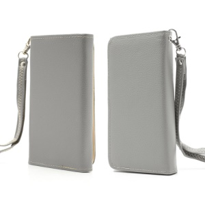 Soft Litchi Leather Purse Case with Card Slots for Samsung Galaxy S 4 IV i9500 i9505 / S III I9300 - Grey