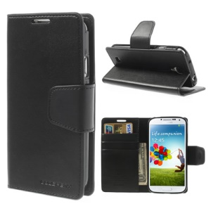 Mercury Goospery Sonata Diary Wallet Leather Cover Stand for Samsung Galaxy S4 i9500 I9502 I9505 - Black