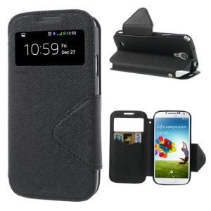 Roar Korea Fancy Diary View Window Flip Leather Case for Samsung Galaxy S4 I9500 - Black
