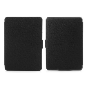 Cross Textured Folio PU Leather Case for Amazon Kindle Paperwhite 3 2 1 - Black