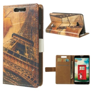 Eiffel Tower & Leaves Leather Wallet Cover for LG L70 Dual D325