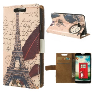 Eiffel Tower & Clock Wallet Leather Stand Case for LG L70 Dual D325