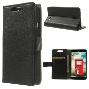 Litchi Leather Skin Wallet Case w/ Stand for LG L70 Dual D325 - Black