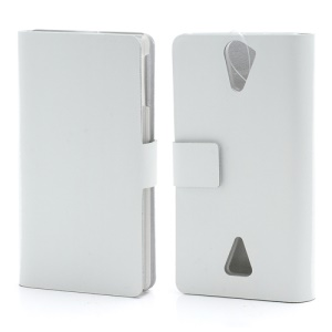 Doormoon Genuine Leather Wallet Folio Case for Sony Xperia V LT25i - White