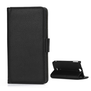 Lychee Grain Folio Wallet Leather Cover with Stand for Sony Xperia V LT25i - Black
