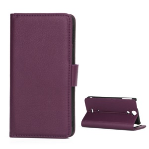 Lychee Grain Folio Wallet Leather Cover with Stand for Sony Xperia V LT25i - Purple