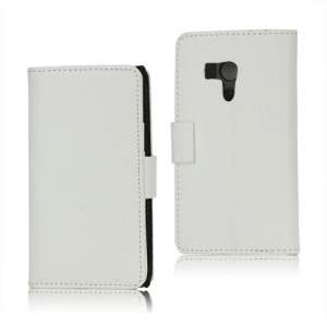 Litchi Leather Wallet Stand Cover Case for Sony Xperia acro S LT26w - White