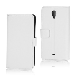 Litchi Leather Wallet Stand Case for Sony Xperia T LT30p LT30i Mint - White